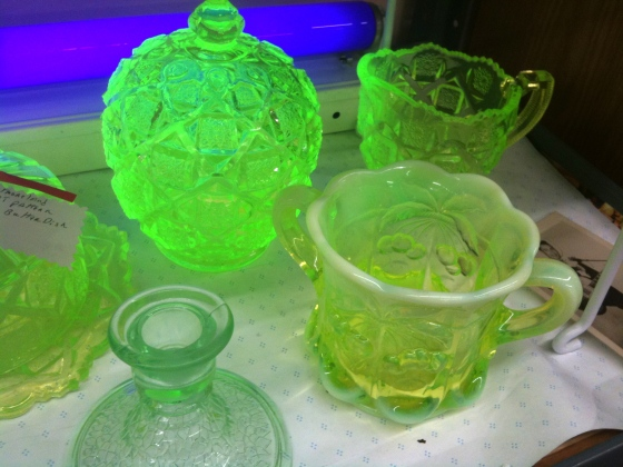 A display of uranium glass from a thrift store.  Photo credit: Nerd