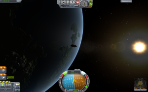 A shot of my first spacecraft to successfully achieve orbit!  This was perhaps one of the proudest moments in my life (don't judge me).