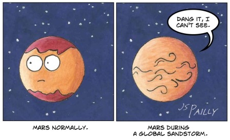 Totally legit Hubble images of Mars before and during a global sandstorm.